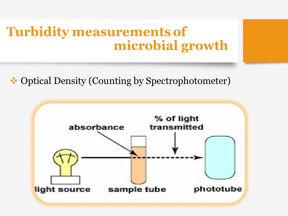 Turbidity measurements of microbial growth  Optical Density (Counting by Spectrophotometer)