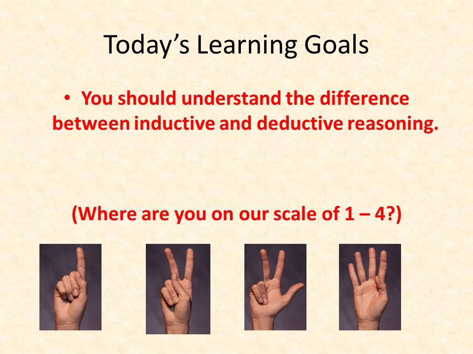 Today's Learning Goals You should understand the difference between inductive and deductive reasoning.