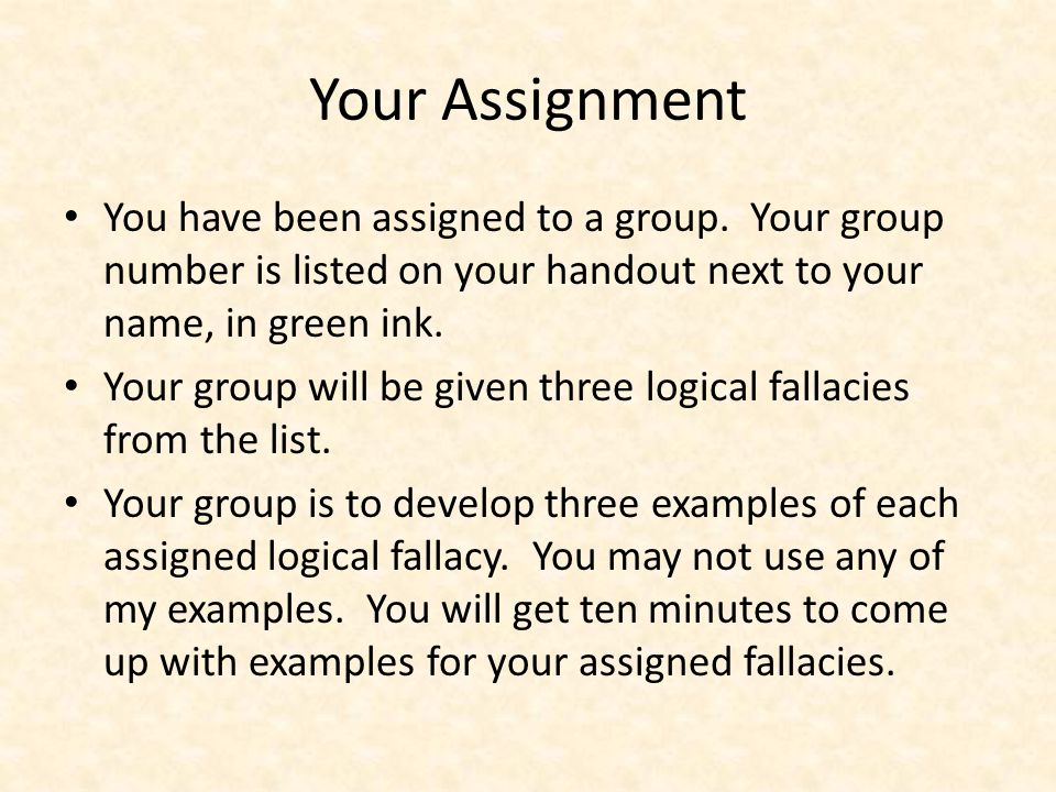 Your Assignment You have been assigned to a group.