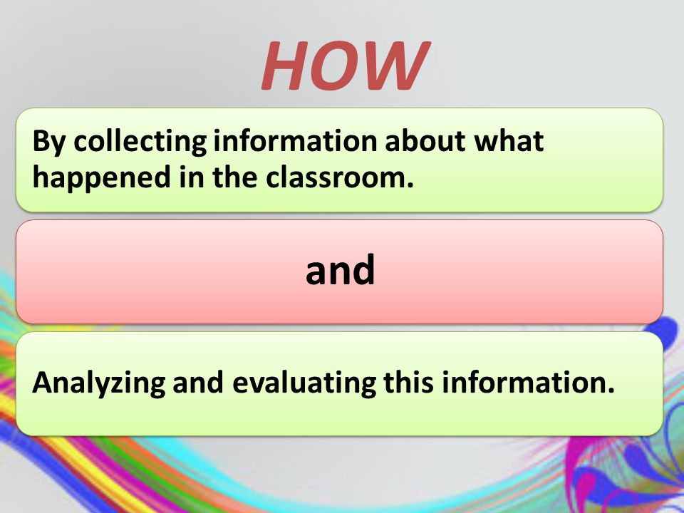 Action research Why Involve research initiated by the teacher himself or herself in the classroom.