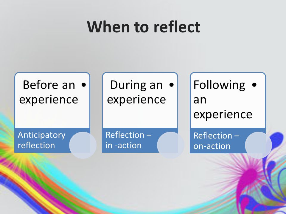 When to reflect Before an experience Anticipatory reflection During an experience Reflection – in -action Following an experience Reflection – on-action