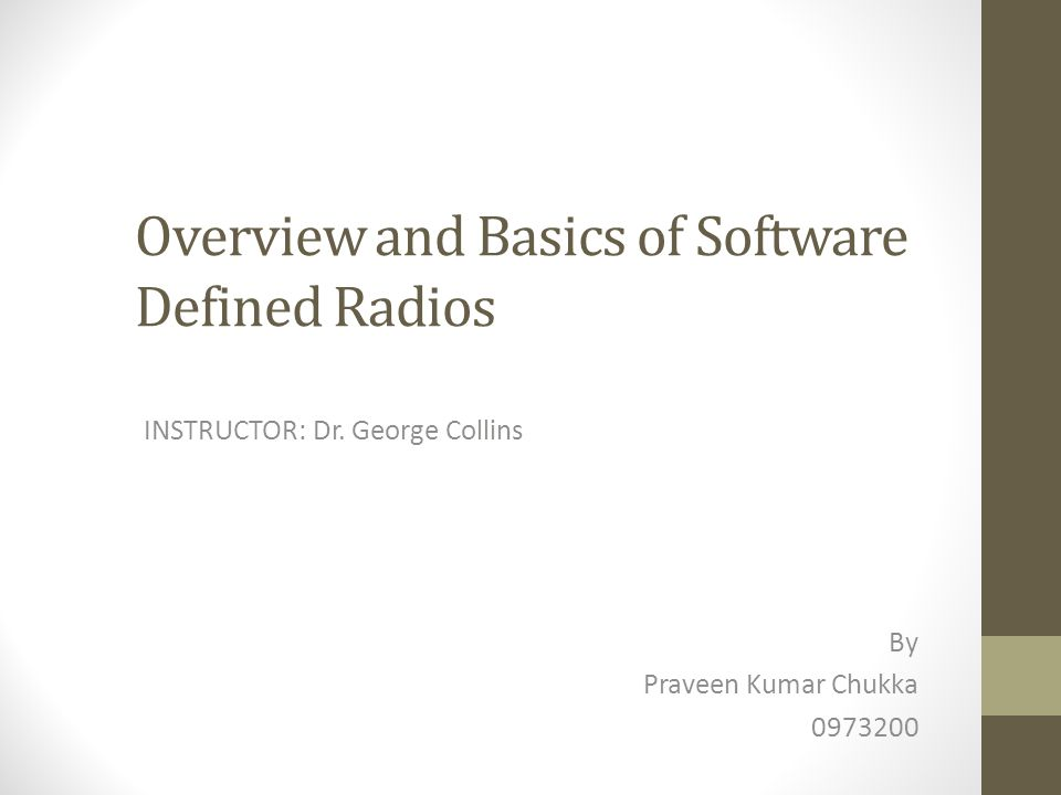 Software Defined Radio  Software-Defined Radio (SDR) is the technology wherein software modules running on a generic hardware platform consisting of DSPs and general purpose microprocessors.