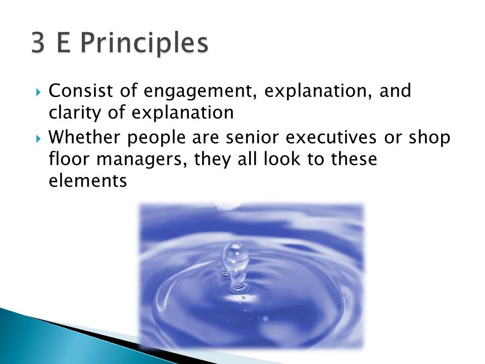  Consist of engagement, explanation, and clarity of explanation  Whether people are senior executives or shop floor managers, they all look to these elements