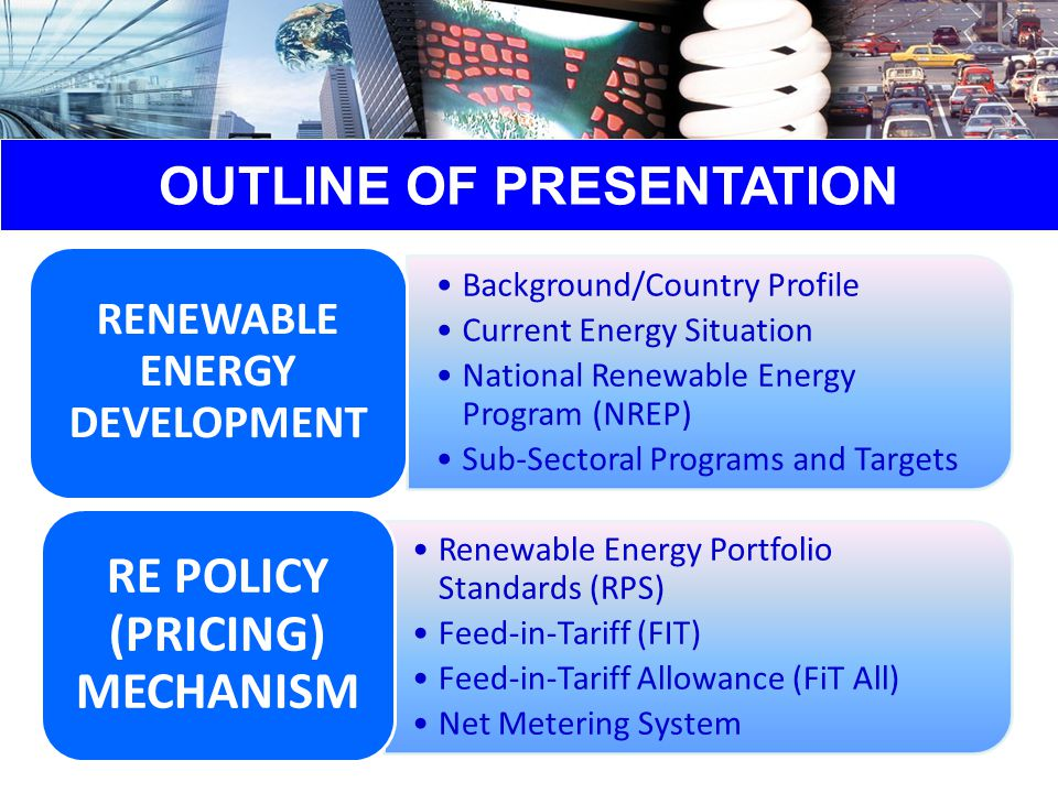 RE POLICY MECHANISM the minimum percentage of generation from eligible RE resources provided by the generators, distribution utilities and electric suppliers necessary in the application of FiT on a per technology basis; Renewable Portfolio Standards (RPS) guaranteed payment in Philippine Peso per kilowatt-hour ( Php/kWh ) for electricity generated from emerging renewable energy technologies and actually delivered to the distribution and transmission network; Feed-in-Tariff (FIT) a uniform charge determined and collected by FIT All Fund Administrator which would cover the differential above the prevailing cost recovery rate for eligible RE generation actually delivered; Feed-in-Tariff Allowance (FIT All) a consumer-based renewable energy incentive scheme wherein electric power generated by an end-user from an eligible on-site RE generating facility and delivered to the local distribution utility (DU) may be used to offset electric energy provided by the DU to the end-user during the applicable period.