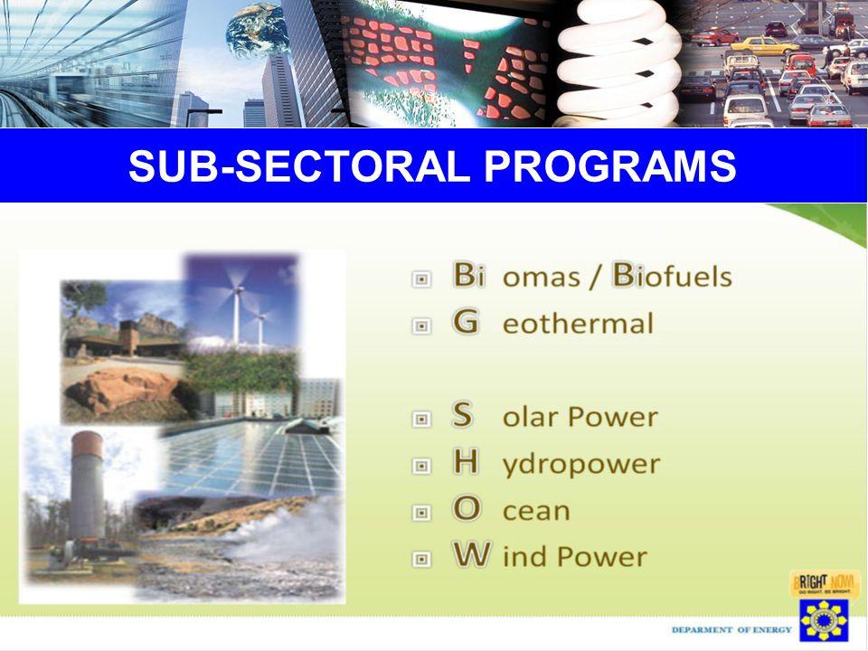 SUB-SECTORAL PROGRAMS