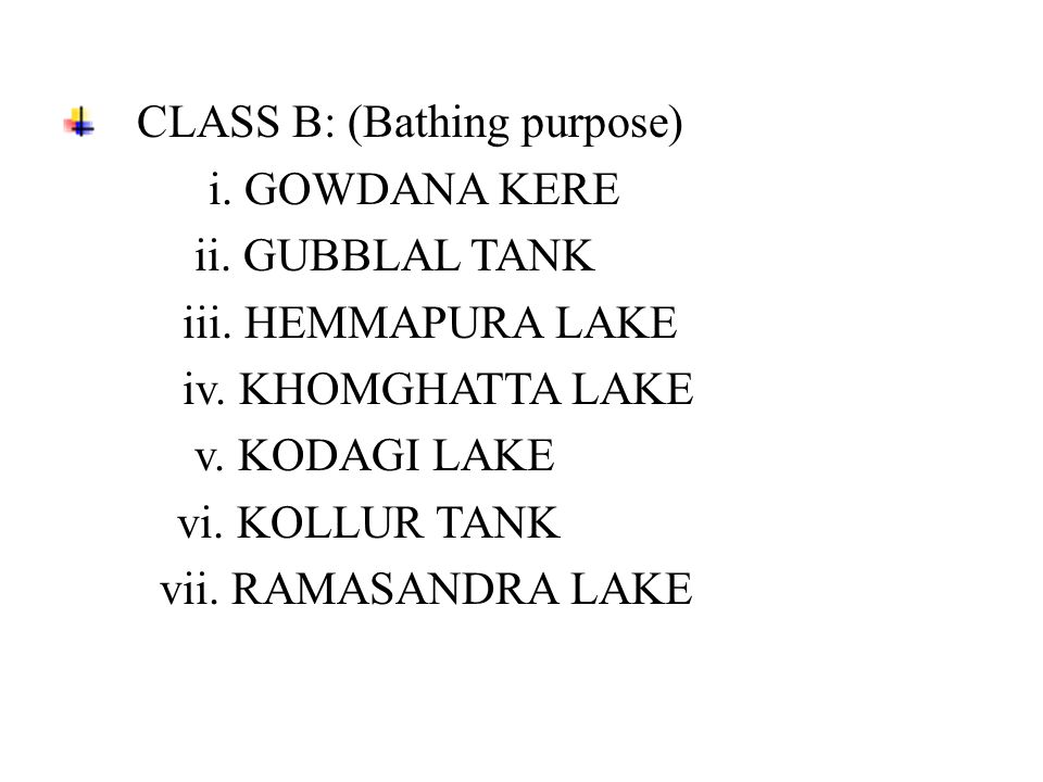 CLASS B: (Bathing purpose) i. GOWDANA KERE ii. GUBBLAL TANK iii. HEMMAPURA LAKE iv. KHOMGHATTA LAKE v. KODAGI LAKE vi. KOLLUR TANK vii. RAMASANDRA LAK