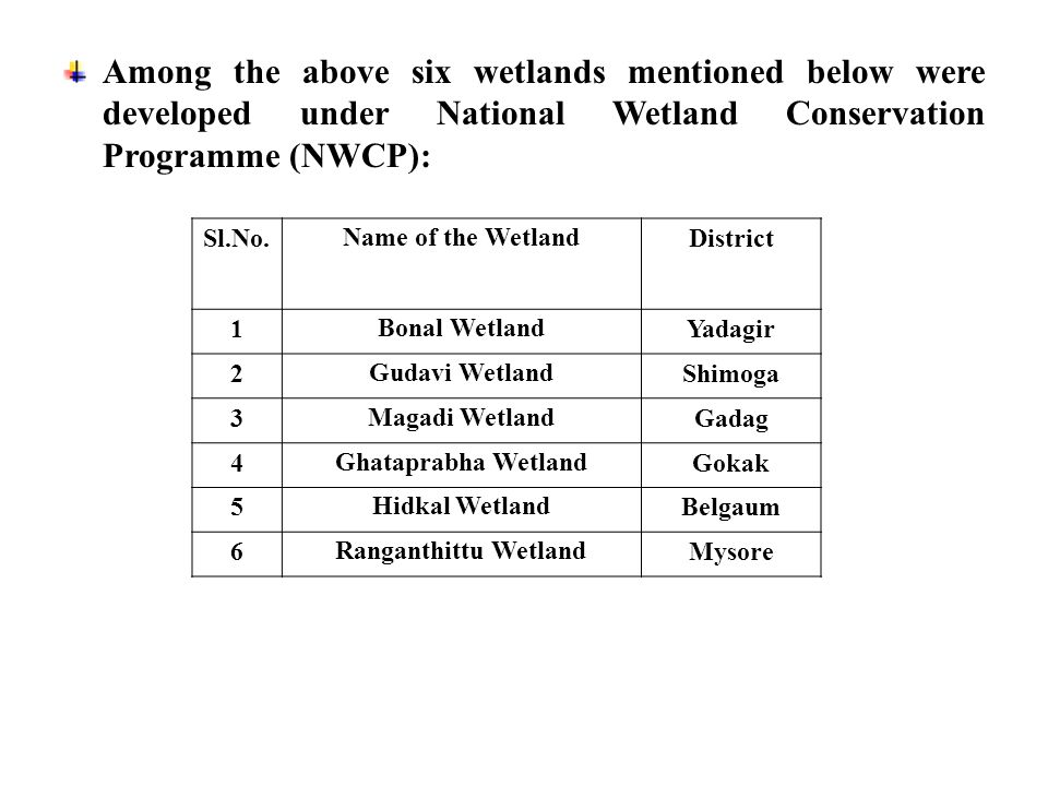 Among the above six wetlands mentioned below were developed under National Wetland Conservation Programme (NWCP): Sl.No.