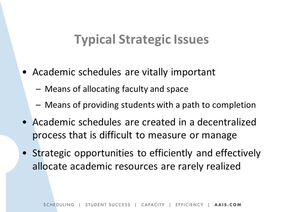 Typical Strategic Issues Academic schedules are vitally important –Means of allocating faculty and space –Means of providing students with a path to completion Academic schedules are created in a decentralized process that is difficult to measure or manage Strategic opportunities to efficiently and effectively allocate academic resources are rarely realized