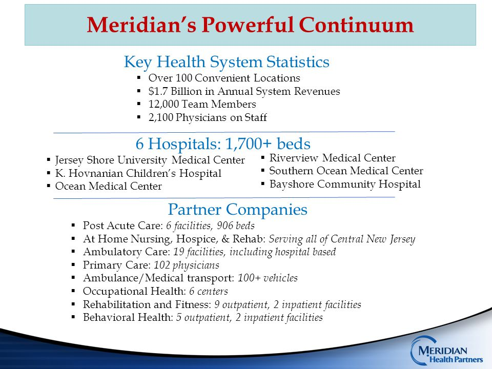  A 50/50 joint venture between Meridian and Geisinger  Enabled Meridian to enter the insurance market  Initially a 2-county Medicare Advantage offering  724 participating physicians Meridian Geisinger Gold  Superstorm Sandy disrupted 2012 open enrollment  Live January 1, 2013 with 875 members last year  Enrollment up nearly 5 fold to over 4,300 lives for 2014 Meridian is uniquely positioned for growth!