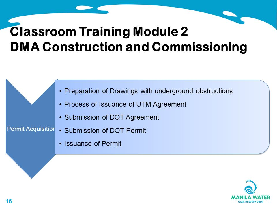 16 Classroom Training Module 2 DMA Construction and Commissioning Permit Acquisition Preparation of Drawings with underground obstructions Process of Issuance of UTM Agreement Submission of DOT Agreement Submission of DOT Permit Issuance of Permit