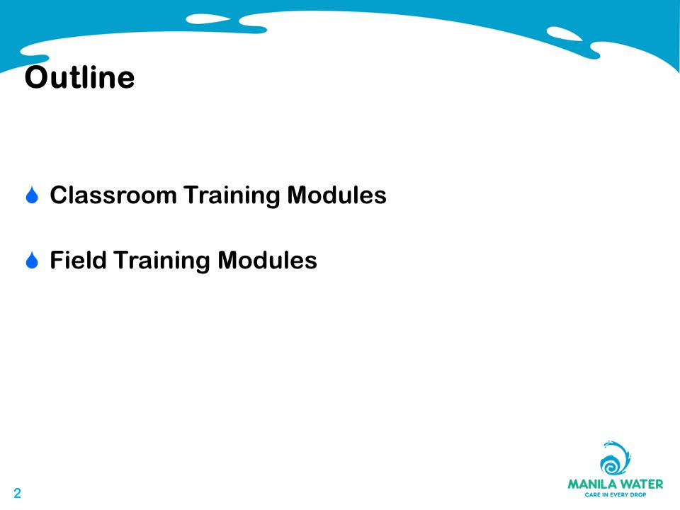 22 Outline  Classroom Training Modules  Field Training Modules