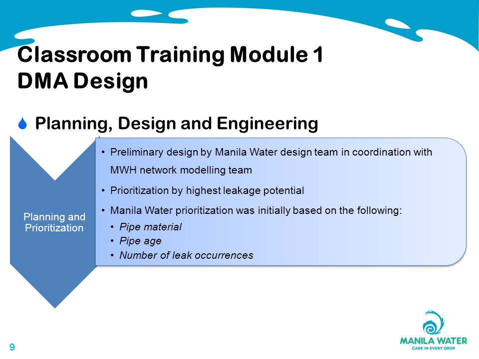 99 Classroom Training Module 1 DMA Design  Planning, Design and Engineering Planning and Prioritization Preliminary design by Manila Water design team in coordination with MWH network modelling team Prioritization by highest leakage potential Manila Water prioritization was initially based on the following: Pipe material Pipe age Number of leak occurrences