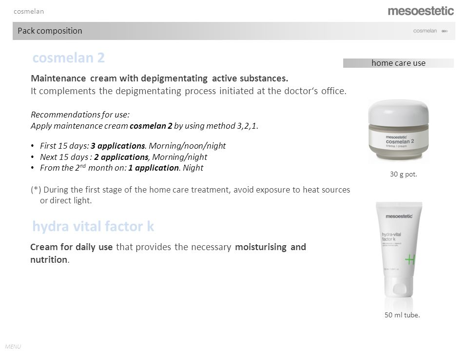antiaging range MENU cosmelan Pack composition cosmelan 2 30 g pot.