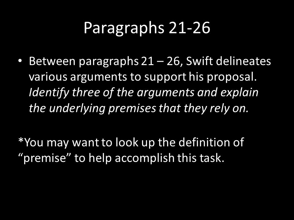 Paragraphs 27-30 What is an expedient.What does Swift suggest as other expedients .