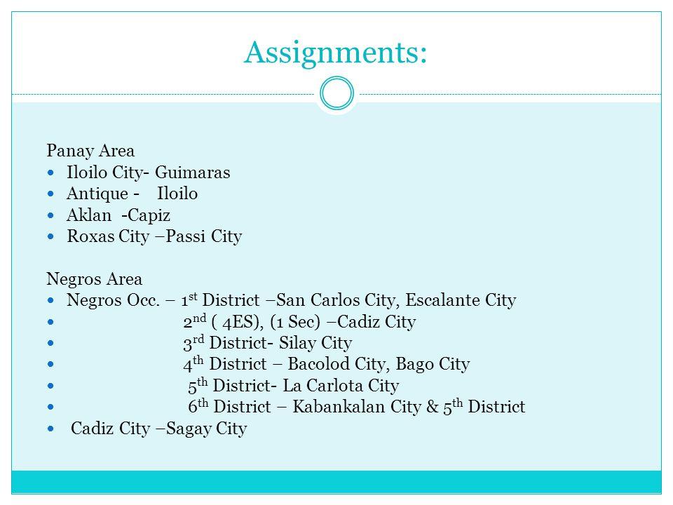 Assignments: Panay Area Iloilo City- Guimaras Antique - Iloilo Aklan -Capiz Roxas City –Passi City Negros Area Negros Occ.