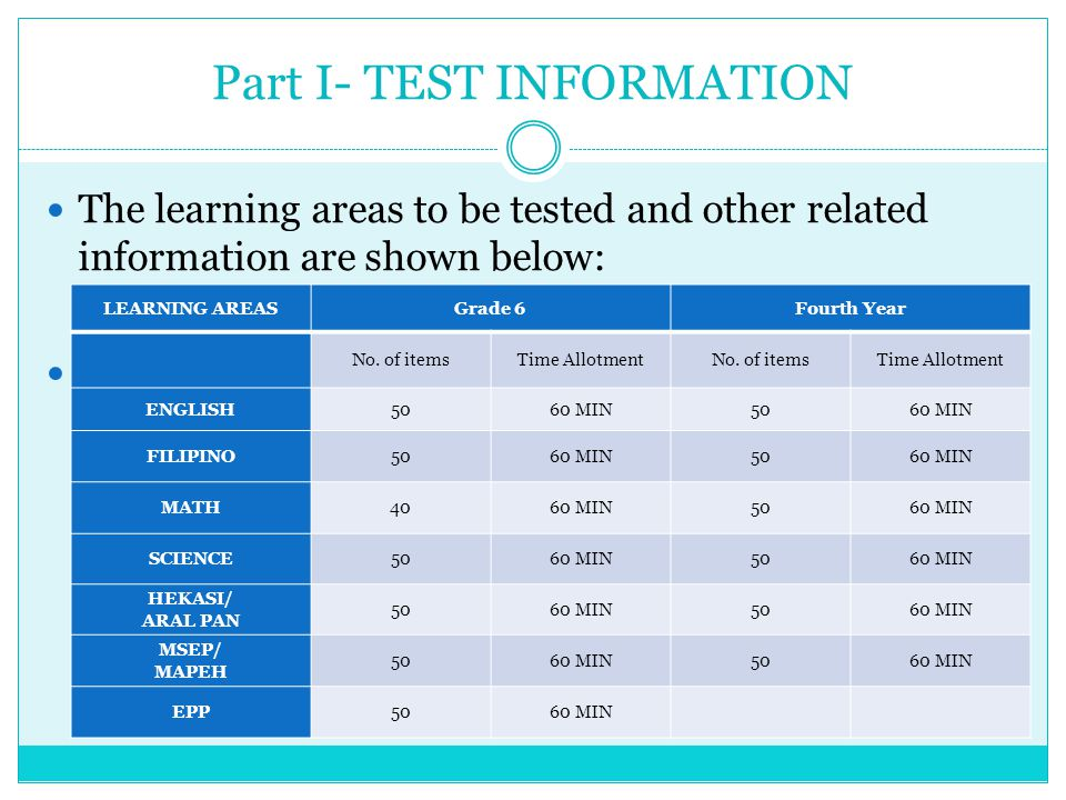 TEST MATERIALS TEST BOOKLETS – There is a test booklet for every subject area both for Grade VI and Fourth year.
