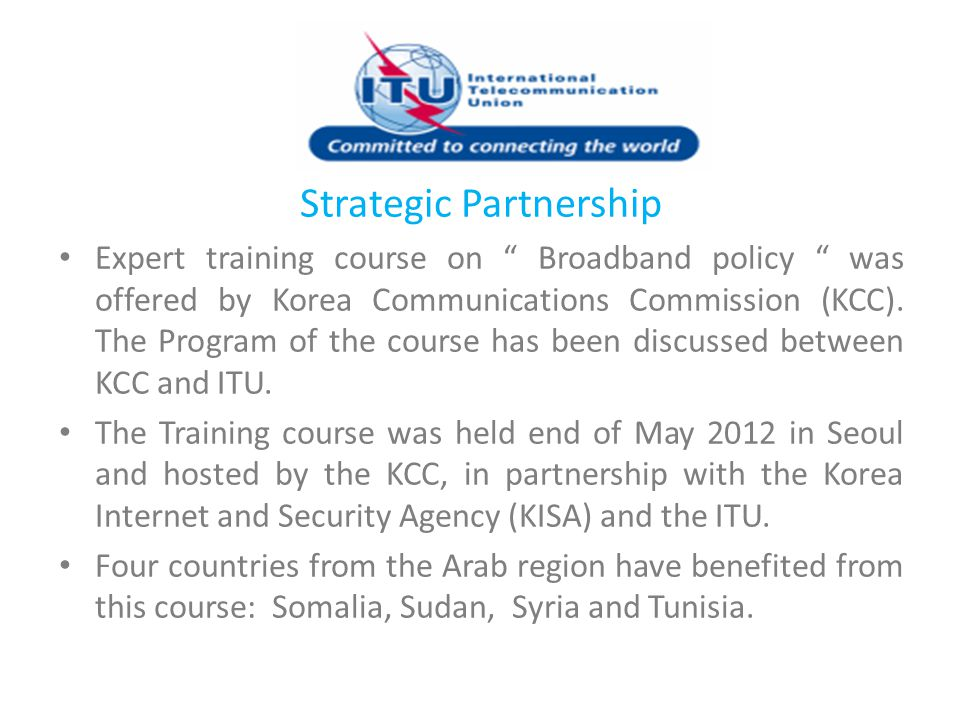 """Strategic Partnership Expert training course on """" Broadband policy """" was offered by Korea Communications Commission (KCC). The Program of the course h"""