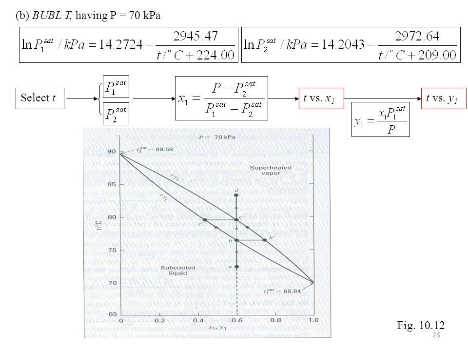 (b) BUBL T, having P = 70 kPa Select tt vs. x 1 t vs. y 1 Fig. 10.12 26
