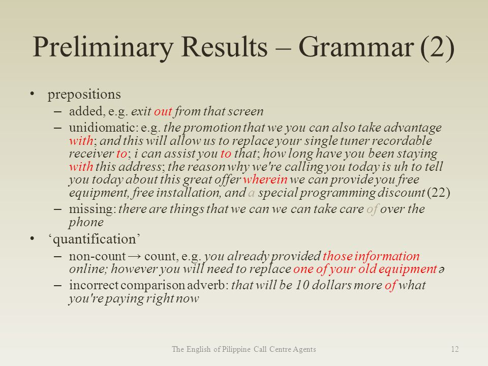 Preliminary Results – Grammar (2) prepositions – added, e.g.