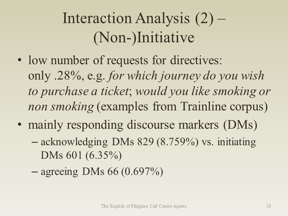 Interaction Analysis (2) – (Non-)Initiative low number of requests for directives: only.28%, e.g.