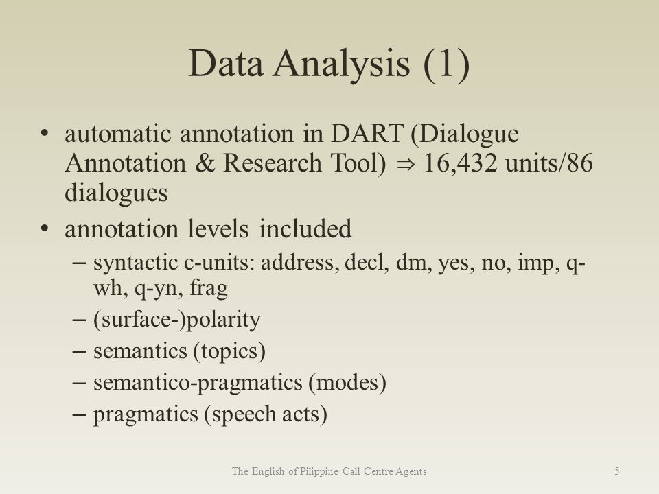 Data Analysis (1) automatic annotation in DART (Dialogue Annotation & Research Tool) ⇒ 16,432 units/86 dialogues annotation levels included – syntactic c-units: address, decl, dm, yes, no, imp, q- wh, q-yn, frag – (surface-)polarity – semantics (topics) – semantico-pragmatics (modes) – pragmatics (speech acts) The English of Pilippine Call Centre Agents5