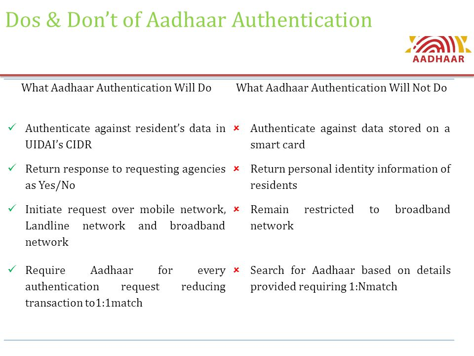 Dos & Don't of Aadhaar Authentication What Aadhaar Authentication Will DoWhat Aadhaar Authentication Will Not Do Authenticate against resident's data