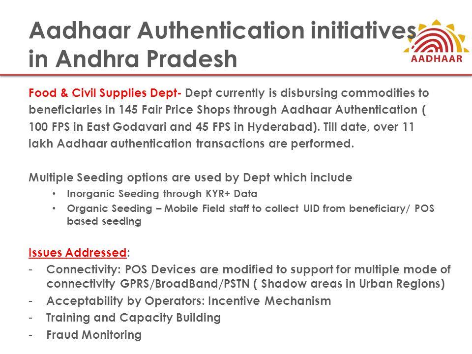 Aadhaar Authentication initiatives in Andhra Pradesh Food & Civil Supplies Dept- Dept currently is disbursing commodities to beneficiaries in 145 Fair