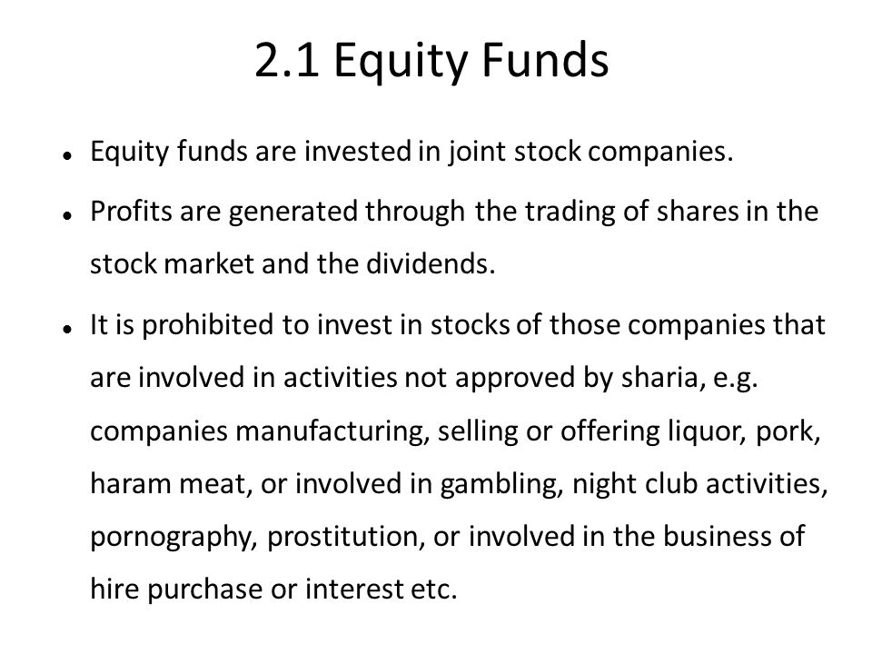 2.1 Equity Funds Equity funds are invested in joint stock companies. Profits are generated through the trading of shares in the stock market and the d