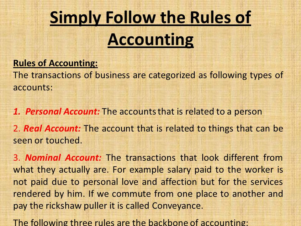 Rules of Accounting: The transactions of business are categorized as following types of accounts: 1. Personal Account: The accounts that is related to