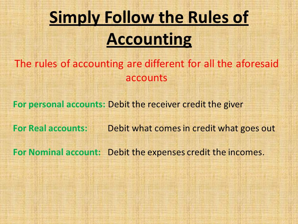 The rules of accounting are different for all the aforesaid accounts For personal accounts: Debit the receiver credit the giver For Real accounts: Deb