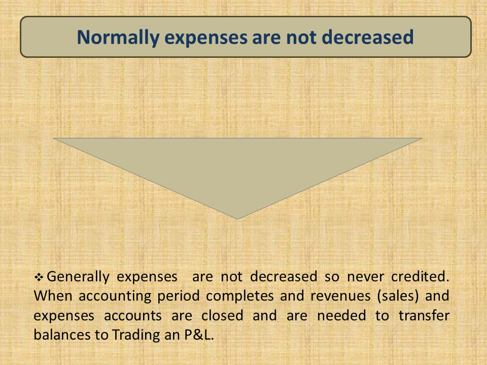 Normally expenses are not decreased  Generally expenses are not decreased so never credited. When accounting period completes and revenues (sales) an