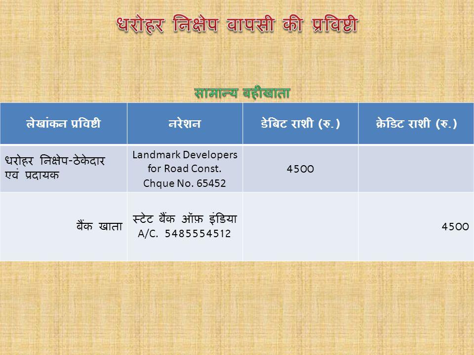 लेखांकन प्रविष्टीनरेशनडेबिट राशी ( रु.) क्रेडिट राशी ( रु.) धरोहर निक्षेप - ठेकेदार एवं प्रदायक Landmark Developers for Road Const.