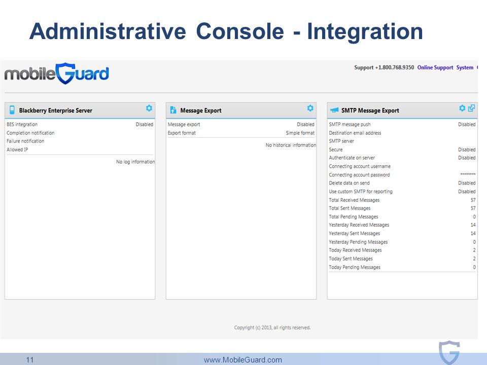 www.MobileGuard.com 11 Administrative Console - Integration