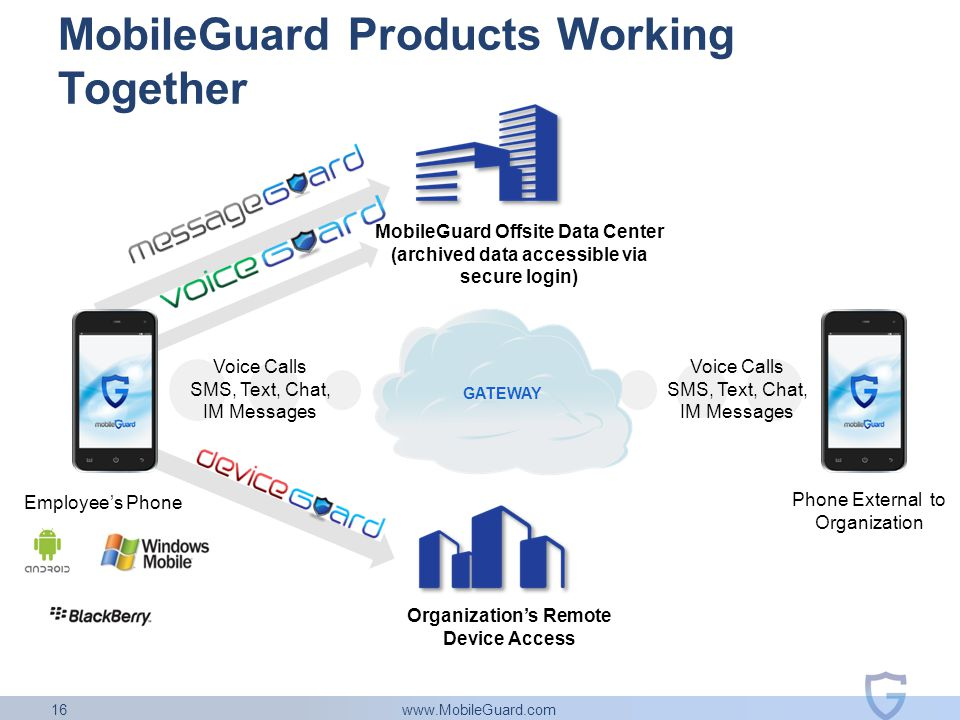 www.MobileGuard.com 16 MobileGuard Products Working Together Voice Calls SMS, Text, Chat, IM Messages Voice Calls SMS, Text, Chat, IM Messages Employee's Phone Phone External to Organization Organization's Remote Device Access MobileGuard Offsite Data Center (archived data accessible via secure login) GATEWAY