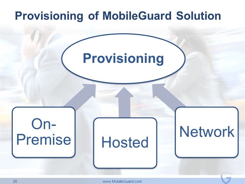 www.MobileGuard.com 20 Provisioning On- Premise HostedNetwork Provisioning of MobileGuard Solution