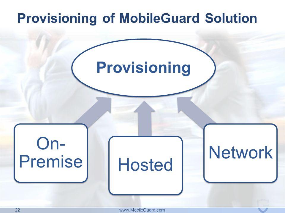www.MobileGuard.com 22 Provisioning On- Premise HostedNetwork Provisioning of MobileGuard Solution