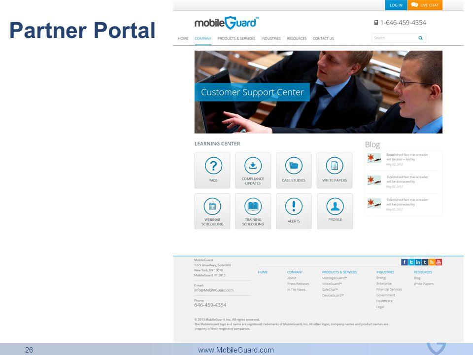 www.MobileGuard.com 26 Partner Portal