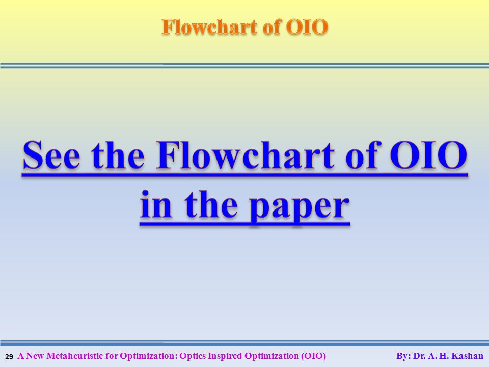 29 A New Metaheuristic for Optimization: Optics Inspired Optimization (OIO) By: Dr. A. H. Kashan