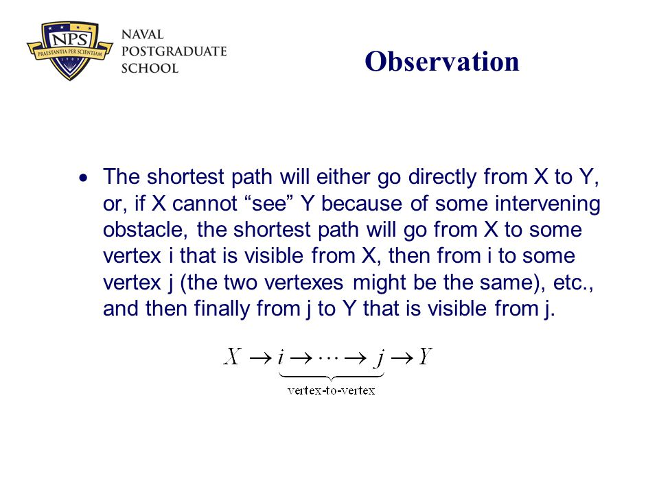 "Observation  The shortest path will either go directly from X to Y, or, if X cannot ""see"" Y because of some intervening obstacle, the shortest path w"