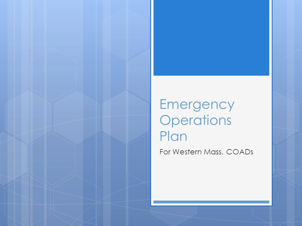 Emergency Operations Plan For Western Mass. COADs
