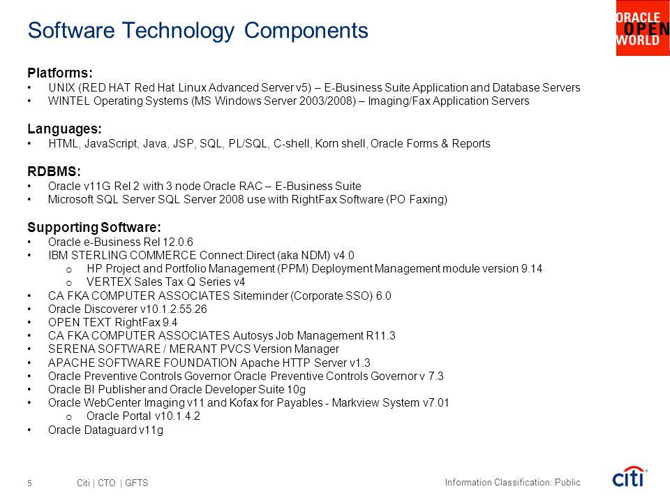 Citi | CTO | GFTS Information Classification: Public Software Technology Components Platforms: UNIX (RED HAT Red Hat Linux Advanced Server v5) – E-Bus