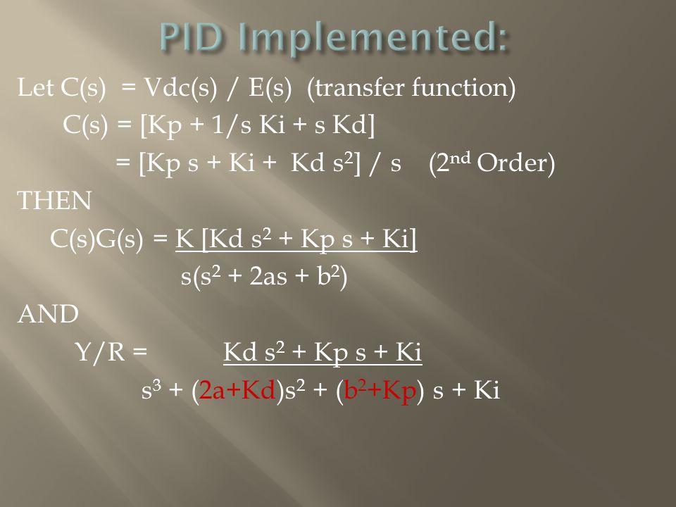 Let C(s) = Vdc(s) / E(s) (transfer function) C(s) = [Kp + 1/s Ki + s Kd] = [Kp s + Ki + Kd s 2 ] / s (2 nd Order) THEN C(s)G(s) = K [Kd s 2 + Kp s + Ki] s(s 2 + 2as + b 2 ) AND Y/R = Kd s 2 + Kp s + Ki s 3 + (2a+Kd)s 2 + (b 2 +Kp) s + Ki