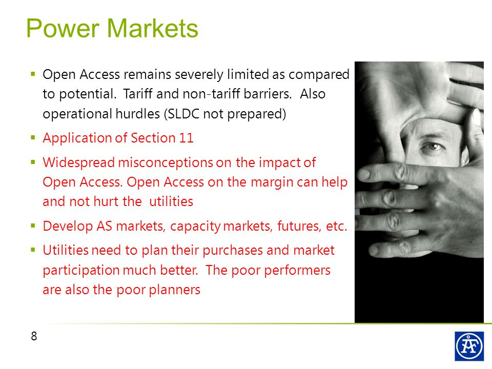 8 Power Markets  Open Access remains severely limited as compared to potential.
