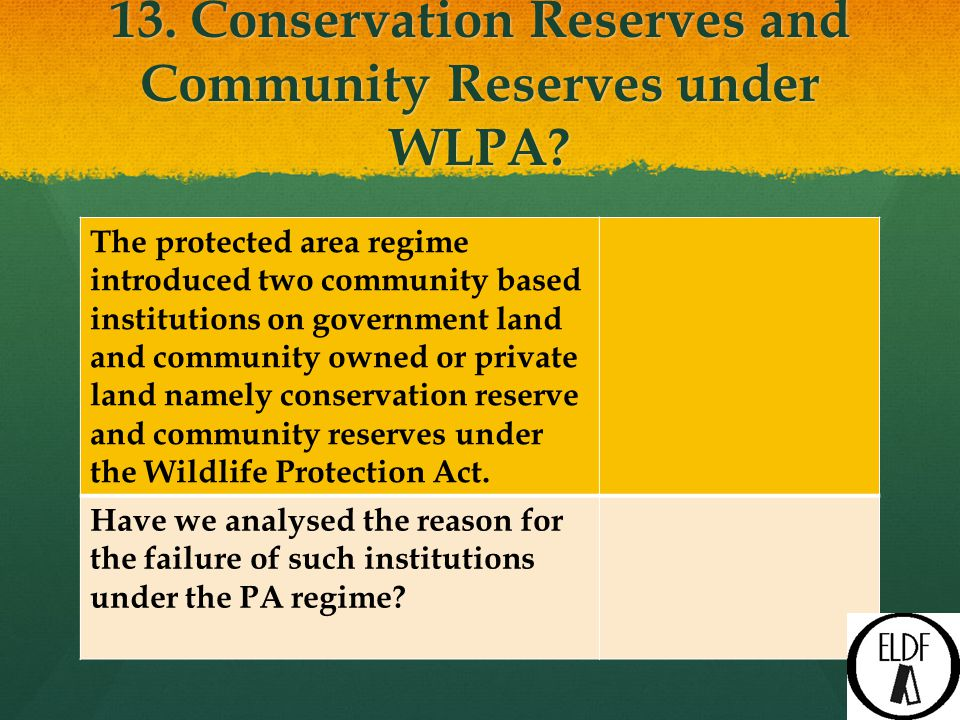 13. Conservation Reserves and Community Reserves under WLPA.