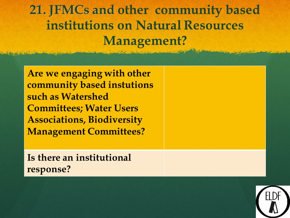 21. JFMCs and 21. JFMCs and other community based institutions on Natural Resources Management.
