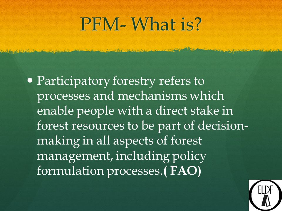 PFM Initiatives in the State The first GO on JFM came in 1993, primary objective of checking degradation in protected forests (PFs) and village common lands and to regenerate and rejuvenate those forest lands with the active participation of the local people, so that the access to fuel wood, fodder and other forest produce can be ensured to the local community H.P.