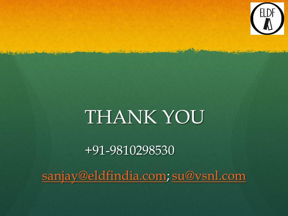 THANK YOU +91-9810298530 sanjay@eldfindia.comsanjay@eldfindia.com; su@vsnl.com su@vsnl.com sanjay@eldfindia.comsu@vsnl.com