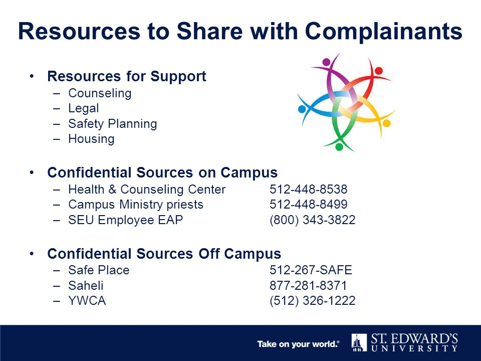 Resources to Share with Complainants Resources for Support –Counseling –Legal –Safety Planning –Housing Confidential Sources on Campus –Health & Counseling Center512-448-8538 –Campus Ministry priests512-448-8499 –SEU Employee EAP(800) 343-3822 Confidential Sources Off Campus –Safe Place512-267-SAFE –Saheli 877-281-8371 –YWCA(512) 326-1222
