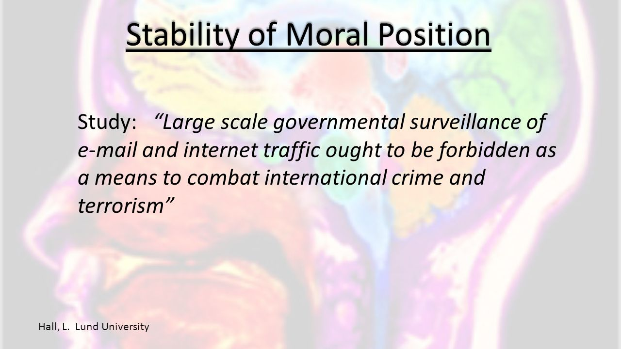 "Stability of Moral Position Hall, L. Lund University Study: ""Large scale governmental surveillance of e-mail and internet traffic ought to be forbidde"