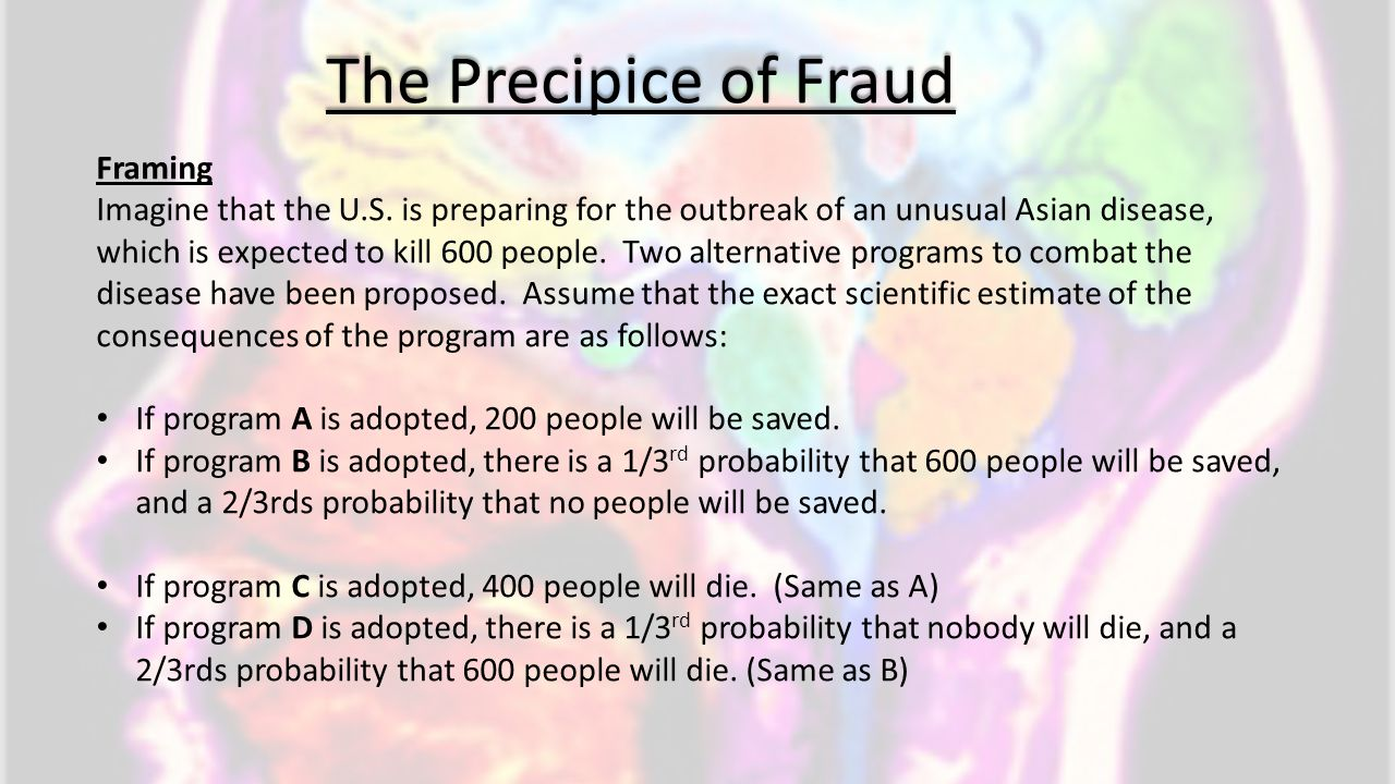 The Precipice of Fraud Framing Imagine that the U.S. is preparing for the outbreak of an unusual Asian disease, which is expected to kill 600 people.